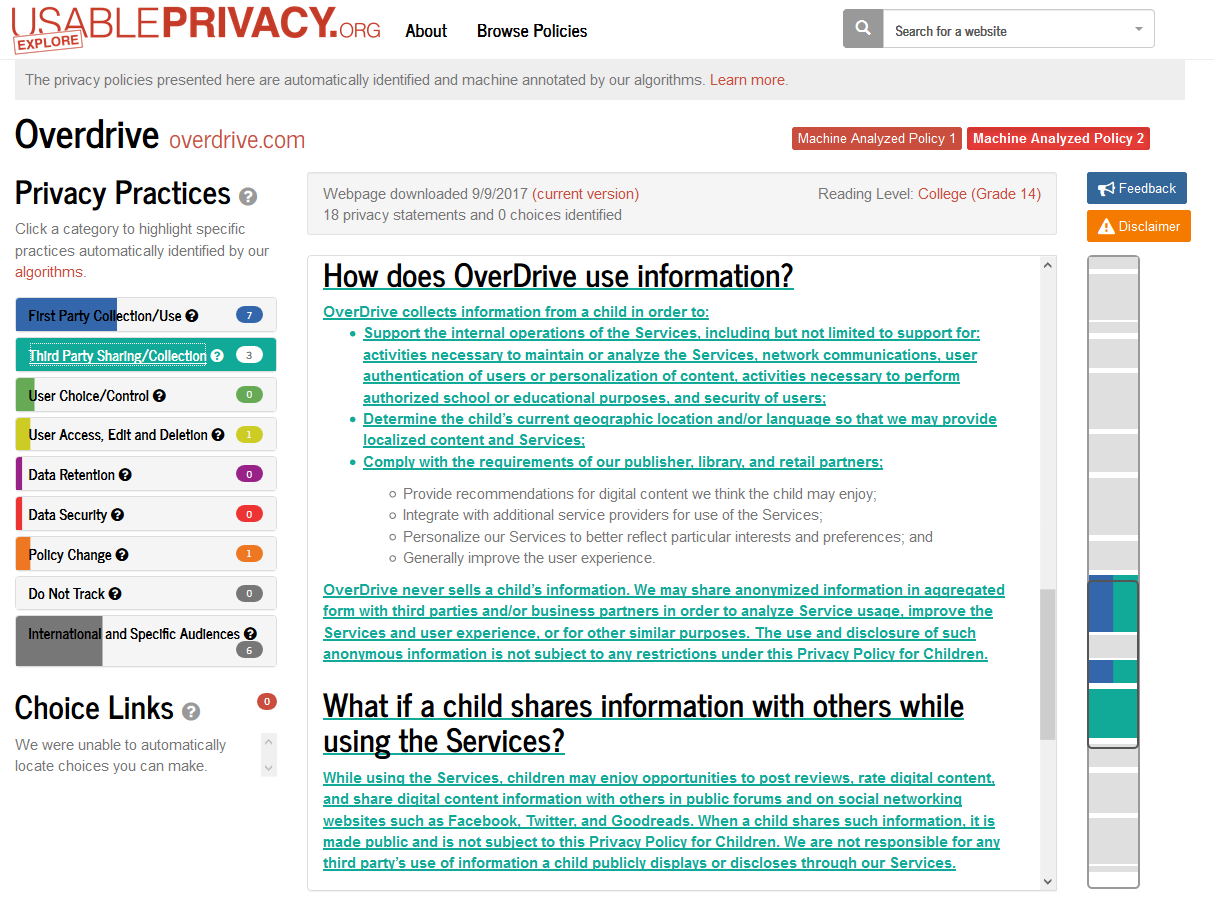A screenshot of Usable Privacy's analysis of the OverDrive privacy policy.