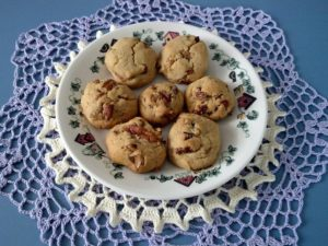 A plate of honey nut cookies.