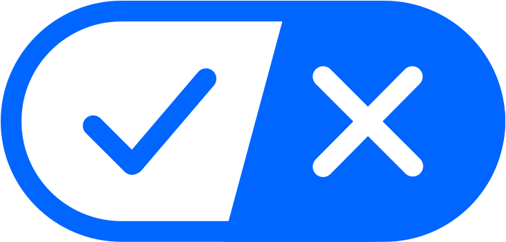 The California Consumer Privacy Act (CCPA) Opt-Out Icon. A long rounded horizontal oval containing a blue checkmark on white on one side, and a white X on blue on the other side.